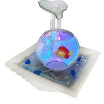 Cascata Fonte Aquario Com Mini Peixe Ceramica Vidro 110v