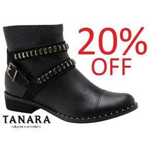 20% Off Bota Tanara Cano Curto Couro N5683 - Preta