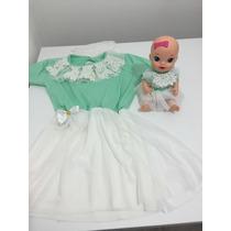 Roupa Para Criança E Boneca Baby Alive Vestido Algodão Doce