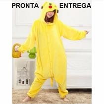 Pijama Macacão Adulto Pokemon Pikachu Com Capuz - No Brasil