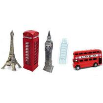 Miniaturas Ônibus Torre Eifel E Pisa Cabine Tel. Big Ben