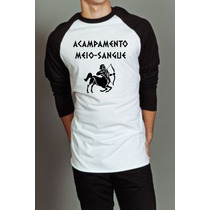 Camiseta Raglan Manga Longa Acampamento Meio-sangue Percy