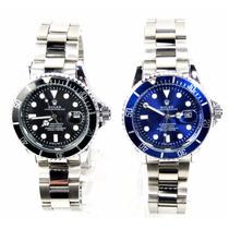 Relógio Masculino Em Aço Preto Ou Azul Em 12x Sem Juros