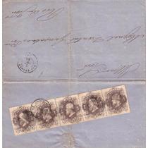Imperio-antiga Carta 1866,rara Com Tira 5 Selos 24-b-ardosia
