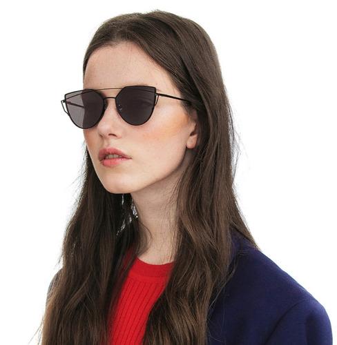 a16be2988 Óculos De Sol Espelhado Fit Gatinho Metal Redondo Uv400 à venda em ...