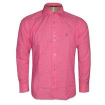 Camisa Social Ricardo Almeida Manga Longa Rosa Pink