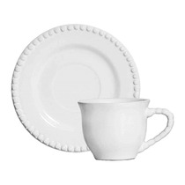 Xícaras Scalla De Chá Com Pires 6 Peças Bolinha Branca