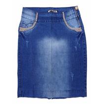 Saia Jeans Evangélica C/ Strass+pérolas (38-46) - Pura Flor