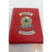 Porta Cheques Cédulas Brasão Agente Segurança Couro Legítimo