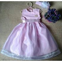 Vestido Infantil Bebê Boneca Póa Bolinhas Rosa E Branco