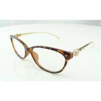 Armação Oculos De Grau Gatinha Oncinha Onça Dourada - A777