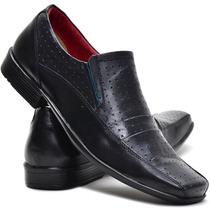Sapato Social Bico Quadrado Couro Legitimo Conforto Barato