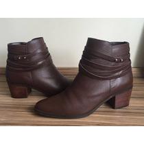 Bota Couro Corello Ankle Boot Cano Baix Marrom N37 Como Nova
