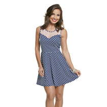 Vestido Princesa Poá Bolinha Azul Com Tule