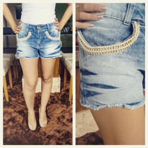 Short Jeans Com Perolas Customizado - Disco