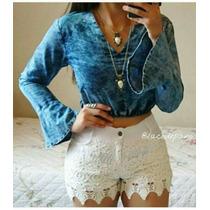 Conjunto Top Lindo Perfeito Short Guipir E Crooped Jeans