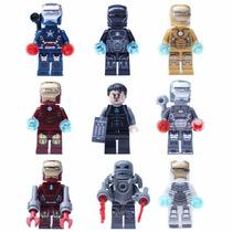 Kit 9 Minifiguras Homem De Ferro - Compatível Com Lego