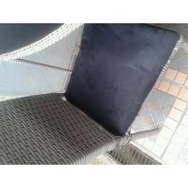 Mesa Cm Quatro Cadeiras Estofadas E Tampa D Vidro