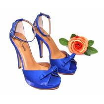 Sandália De Festa Em Cetim Azul Royal