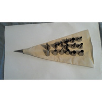 Kit Saco Confeitar Lona 35cm +16 Bicos Inox Profissional