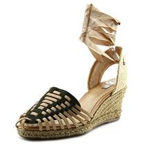 Schutz Sandalia Salto Medio Mulheres Couro Wedge Sandal