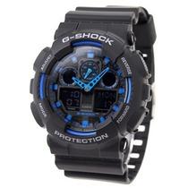 Relógio Casio G-shock Ga100 1a2 Preto C/ Azul Novo Original