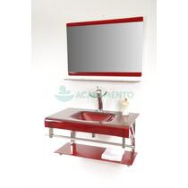 Gabinete De Vidro Banheiro 80 Cm Vermelho Vinho