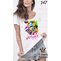 Camiseta T-shirt Lady Gaga Fashion Feminino Blusa Baby Look
