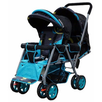 Carrinho De Bebe Duplo Adelina Designer Stroller - Azul