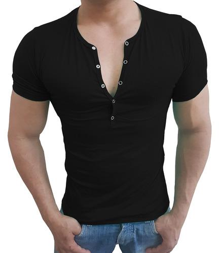 4467da6089 03 Camisas Henley Masculina Slim Botão Press Manga Curta. R  125.39