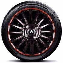 Calota Jogo 4pçs C3 C4 Picasso Citroen Aro15 Blackred P833j