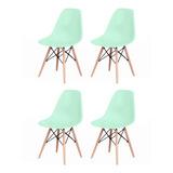 Kit 4 Cadeiras Charles Eames Eiffel Wood Design Varias Cores