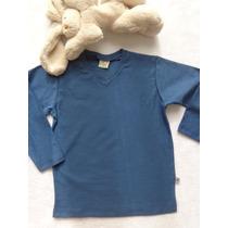 Camiseta Flamê Gola V Básica Azul Infantil Have Fun Hf0165