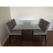 Mesa Retangular De Vidro 10mm Com Base E Cadeiras