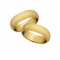 Aliança Em Ouro 18 K Lisa Meia Cana (o Par)