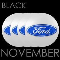Boton Emblema Logo Calotinha Alumínio 48mm Ford Prata Azul
