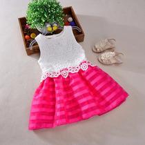 Vestido Renda No Busto Pink E Branco - Infantil