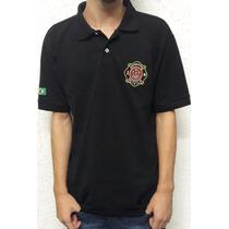 Camiseta Pólo Bombeiro Civil Preta - Brasão - Bombeiros