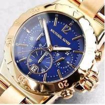 Relógio Michael Kors Bel Air Mk5410 Rose Fundo Azul Completo
