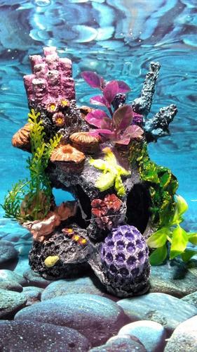 Enfeite Aquário Coral Rocha Pico Toca - Decoração E Plantas