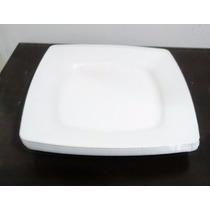 Kit 100 Prato Quadrado Branco Plástico 21cm Lanche