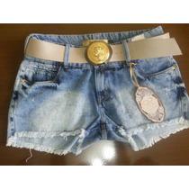 Short´s Jeans Roscel Desfiado Com Cinto Fivela