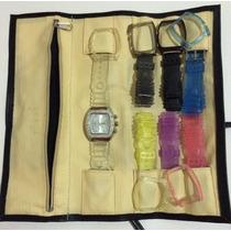 Relógio Euro Strass C/ Várias Pulseiras Coloridas
