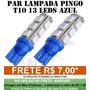 Par Pingo T10 9 Led Azul Tuning Meia Luz Placa Frete 7,00