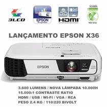 Projetor Epson X24/x36+ Powerlite 3600lumens/wifi/hdmi+bolsa