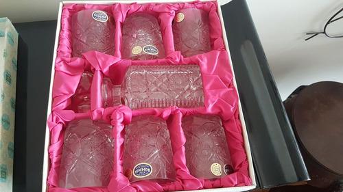 9c2e7b5abb7 Conjunto Para Whisky De Cristal Antigo Lapidado A Mão