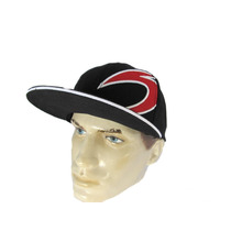 Boné Aba Reta Snapback Preto Black Red Bordado Anthenado Co.
