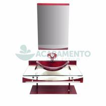 Gabinete De Vidro 90 Cm Banheiro Vinho + Misturador Vinho