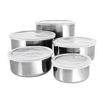 Conjunto De Tigelas Aço Inox Com Tampas 5 Peças Frete Grátis