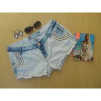 Shorts Destroyed Customizado Delave Perolas Brilho Manchado